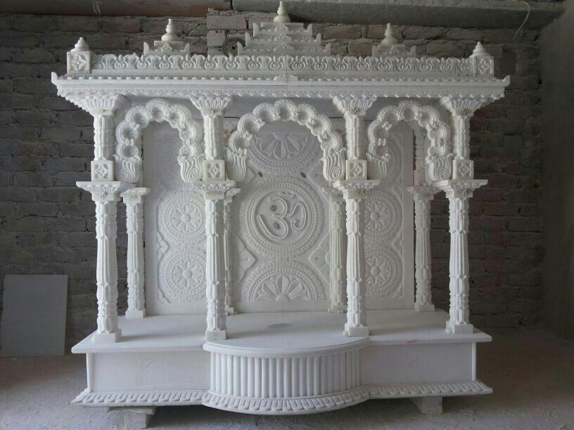 Image Of Marble Design For Pooja Room Carved White Marble Pooja Ghar ...